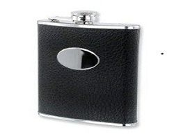 Black Faux Leather Stainless Steel 8oz Hip