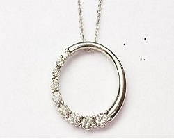 Diamond Circle Pendant 14K White Gold