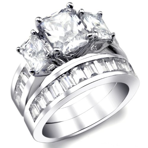 2 Carat Radiant Cut Cubic Zirconia CZ Sterling Silver Women's Ring