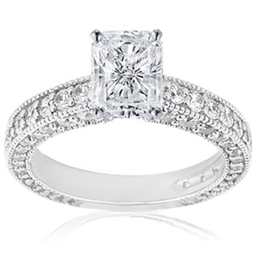 2 Carat Radiant Cut Diamond Ring Flawless GIA