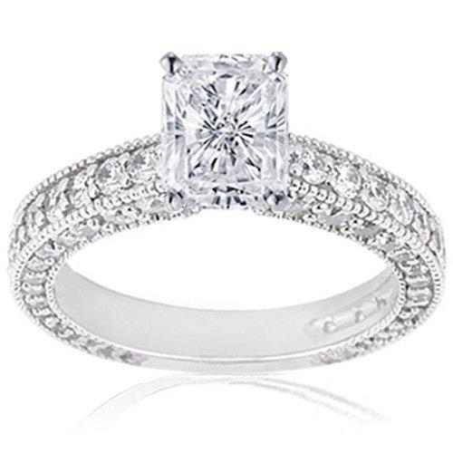 2 Carat Radiant Cut Diamond Ring Flawless GIA