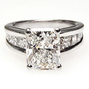 GIA 2 Carat Radiant Cut Diamond Ring in Platinum