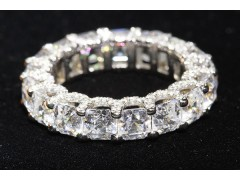 "10.50 CT Asscher Cut ""U"" Prong Eternity Band w/ Micro-Pave"