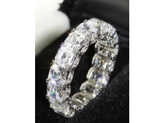 "10.50 CT Platinum Asscher Cut ""U"" Prong Eternity Wedding Band Diamond Encrusted w/ Micro-Pave"